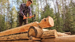 Solo Off Grid Timbering Log Cabin only Hand Tools | 7.0 | - One Man Traditional Log Cabin series