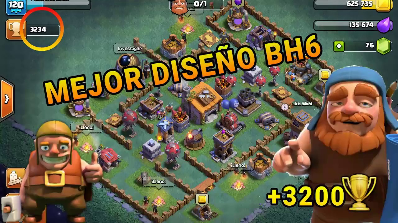 Mejor base bh6 3200 clash of clans taller del - Aldea de constructor ...