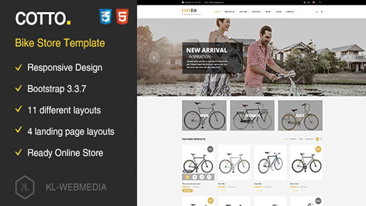 Cotto Bike Store Html5 Template Themeforest Website Templates