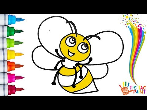 How to Draw a BEE - Coloring for Kids | Tic Tac Paint
