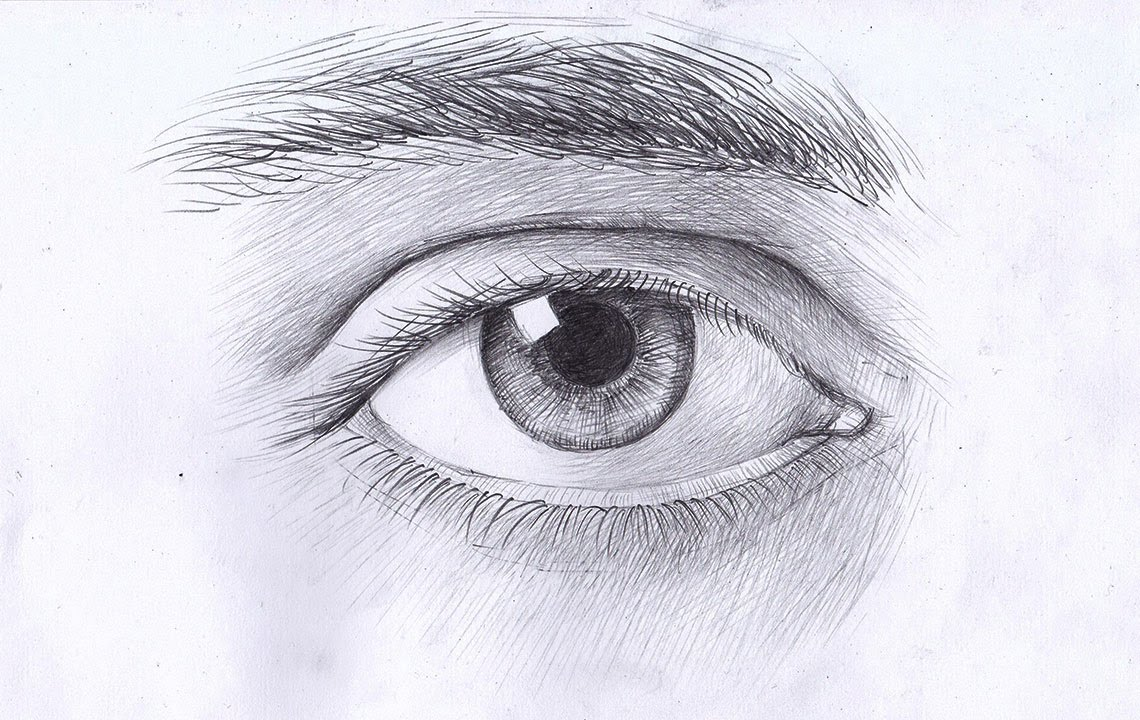 Глаз карандашом в цвете