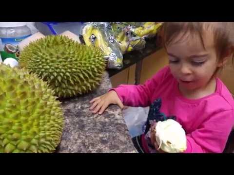 Funny Video /Cute little girl eating DURIAN fruit