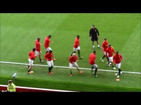 Calentamiento pre partido Manchester United de Sir Alex Ferguson