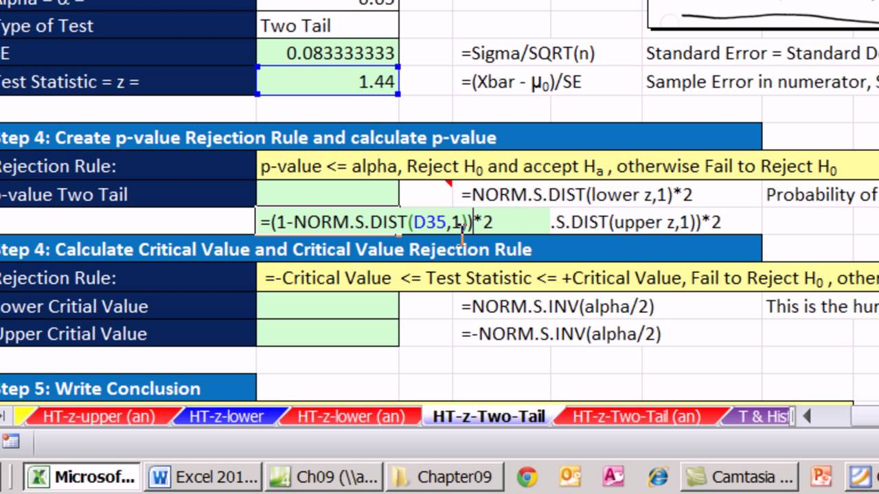 Excel 200 Statistical Analysis 200 20 Tail Z Score Mean Hypothesis Testing  P value Critical Value