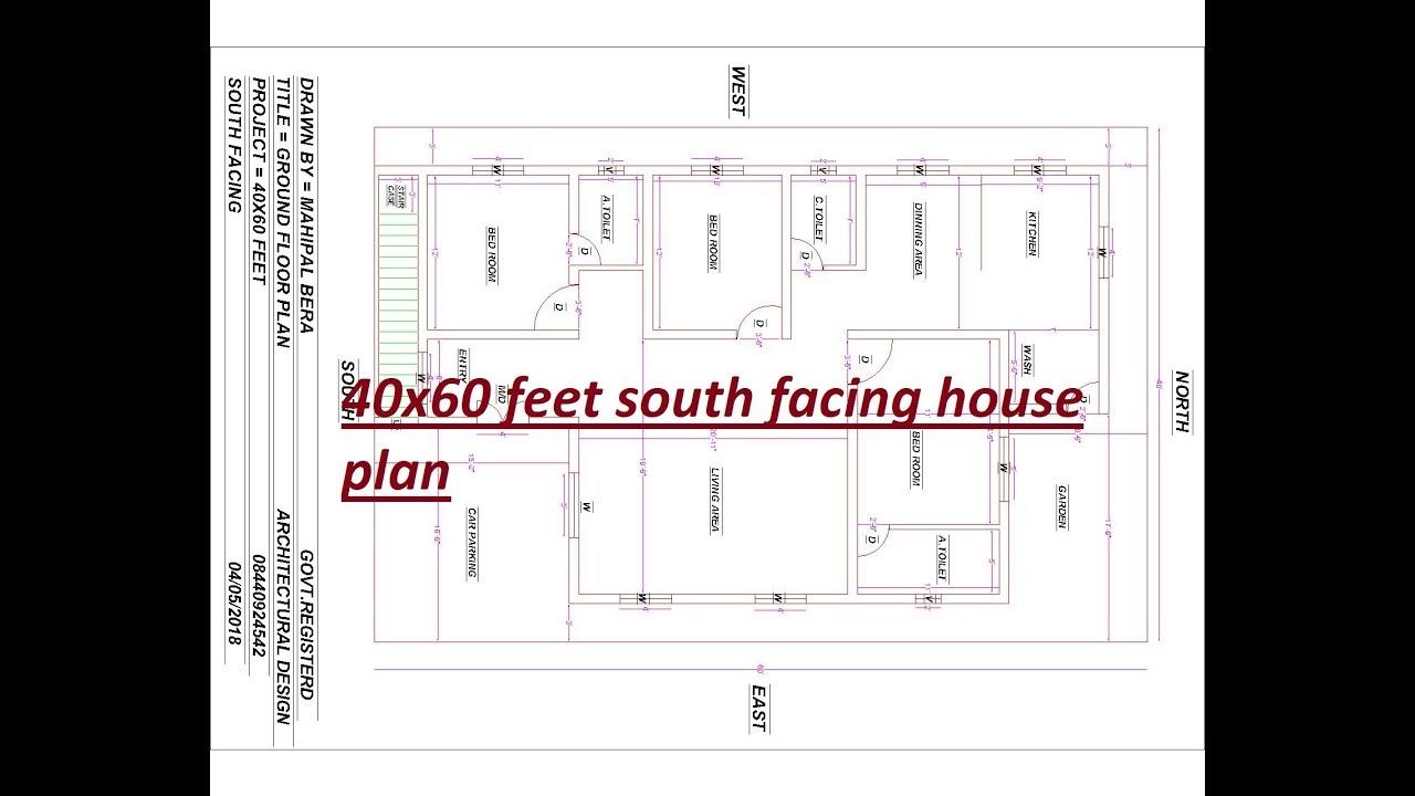 40x60 Feet South Facing House Plan