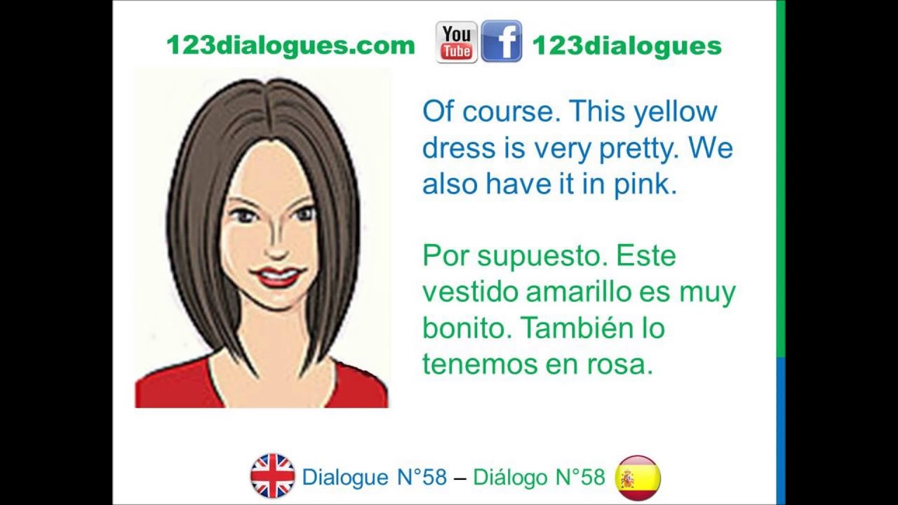 b47595f97 Dialogue 58 - Inglés Spanish - Shopping for clothes - Comprar ropa ...