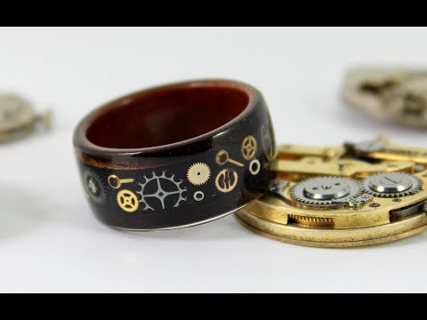 Wooden Steampunk Gear Ring (How To) - Bent Wood Ring With Watch Parts Inlay