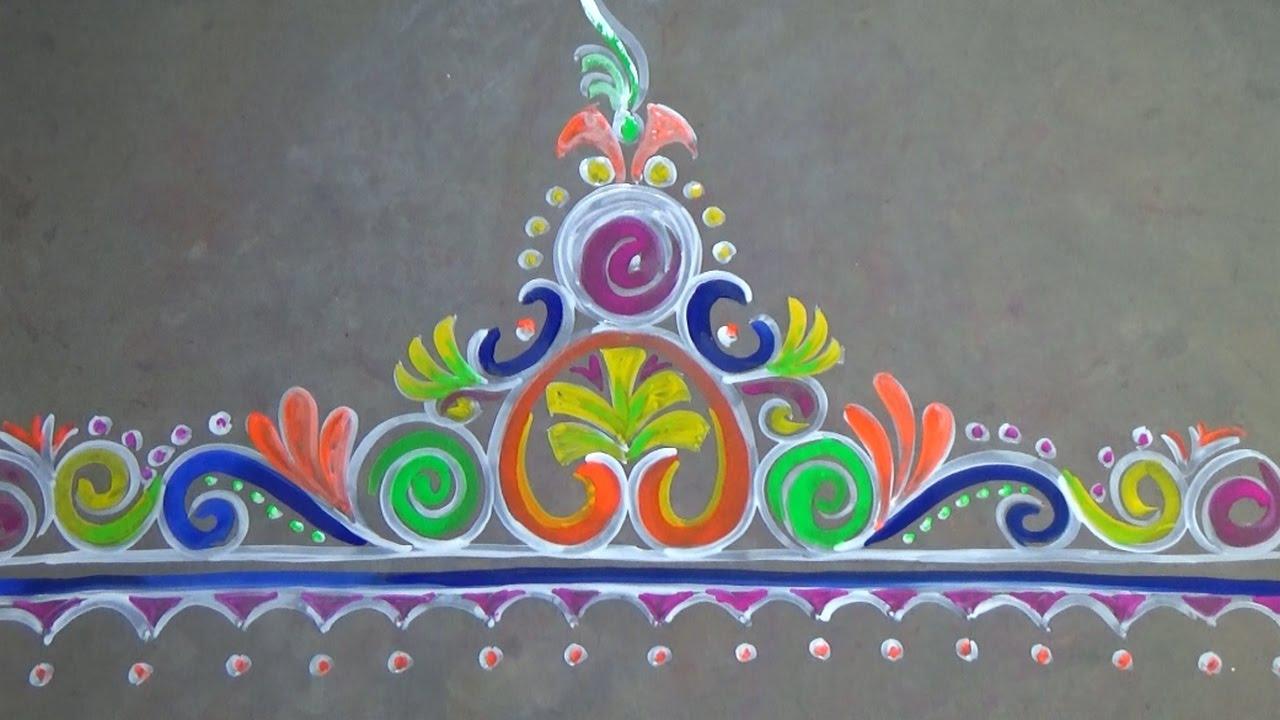 Border door alpana designs rangoli for your floor side for Door entrance rangoli designs