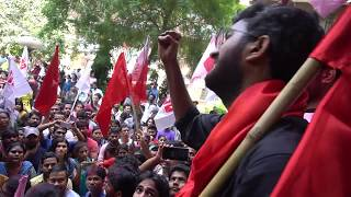 Balaji addressing a huge audience just after being elected JNUSU President 2018-19