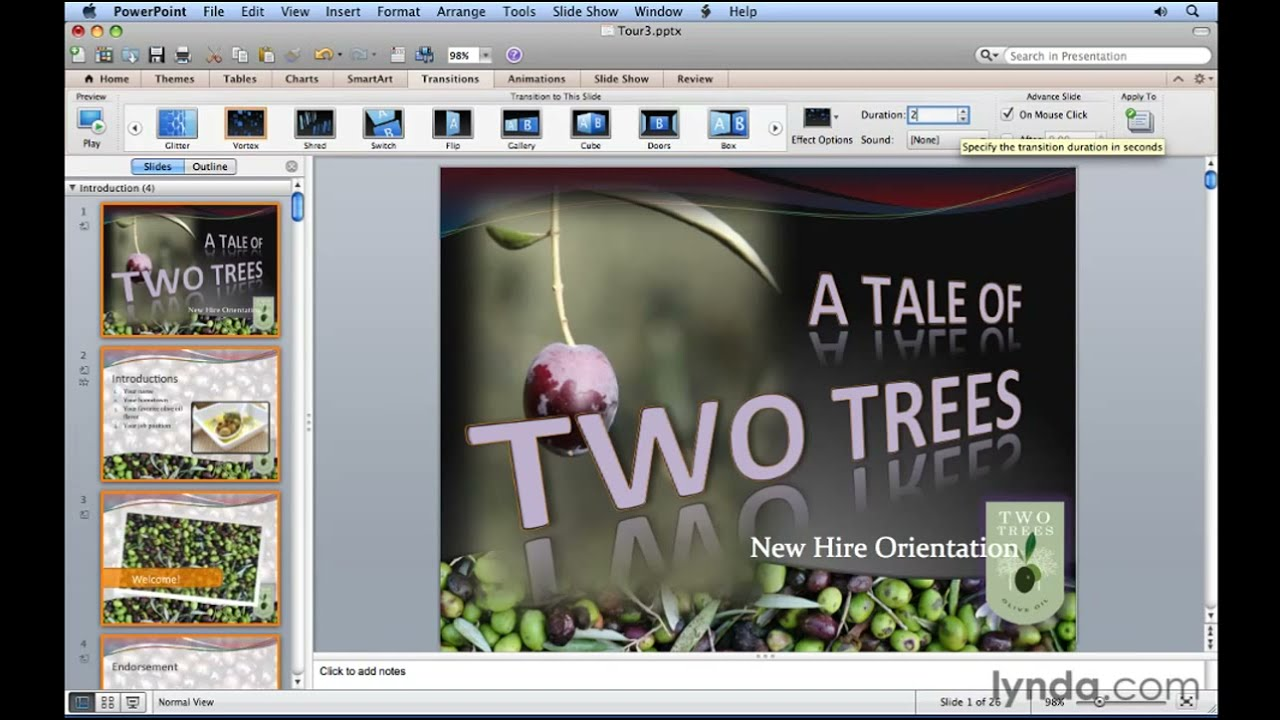Powerpoint how to use transition effects lynda tutorial youtube toneelgroepblik Gallery