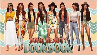BOHO BEAUTY LOOKBOOK   +96 CC LINKS! | De Sims 4 | Creëer een Sim