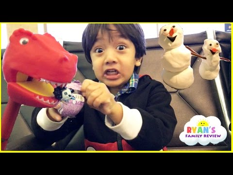 Family Fun Airplane Trip Home! Surprise Candy and Egg Surprise Toys for Kids! Play Doh Playtime