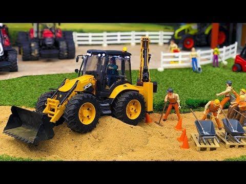 BRUDER TOYS video for KIDS | Tractor JCB 5CX for CHILDREN works at road!