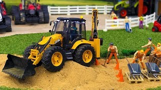 BRUDER TOYS video for KIDS | Tractor JCB 5CX for CHILDREN works at road!