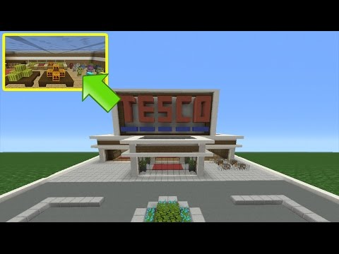 Minecraft Tutorial: How To Make A Super Market (Inside/Outside)
