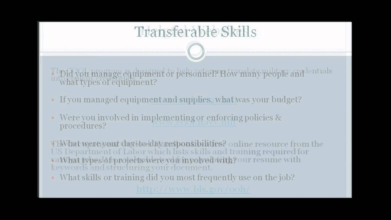 Military To Civilian Transition | Showing Transferable Skills In Resumes    YouTube  Transferable Skills Resume