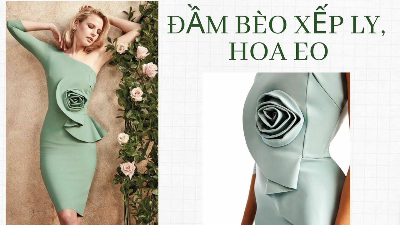 Hướng dẫn thiết kế đầm bèo xếp ly hoa eo (how to make pleated off- shouler column gown dress)