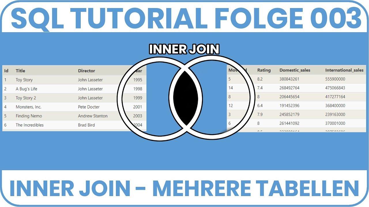 Sql Inner Join Mehrere Tabellen Miteinander Verknupfen Sql Tutorial Deutsch 003 Youtube