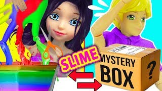 Cambio dela Caja Misteriosa de Slime con Guantes   MISTERY BOX SLIME SWITCH UP Challenge con GUANTES
