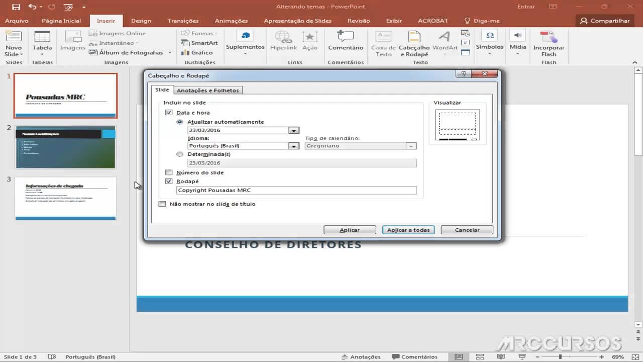 tutorial online powerpoint 2016 adicionando rodapé e cabeçalho em