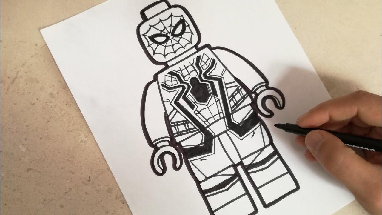 Como dibujar a iron spider avengers infinity war lego