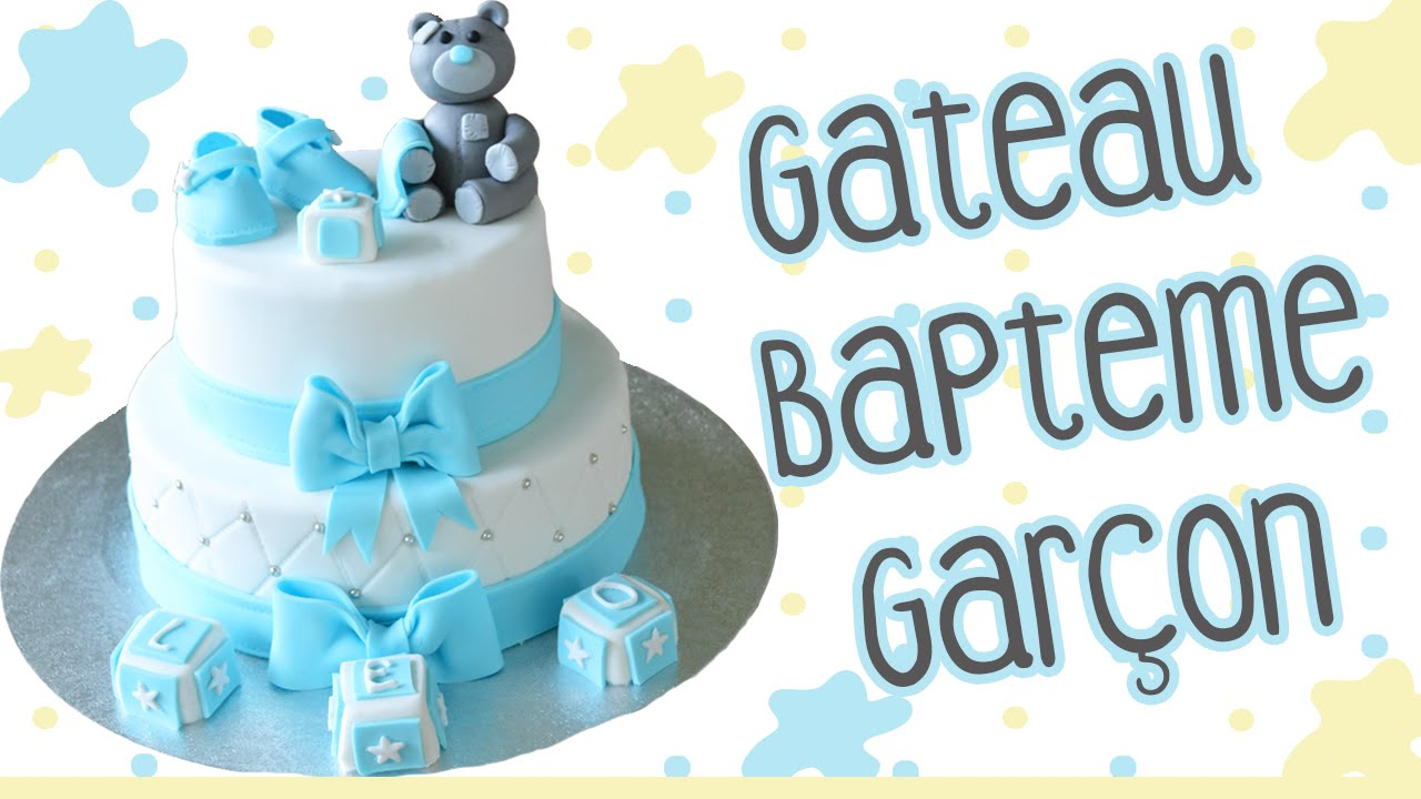 Gateau bapteme garcon photo
