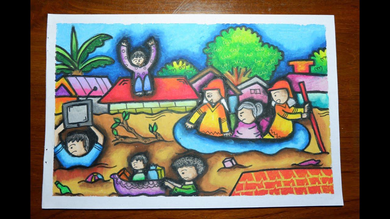 Cara Menggambar Dan Mewarnai Gradasi Tema Banjir Dengan Crayon Oil Pastel