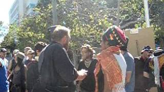 Occupy L.A. - Arguing on stage continues as a woman sings Indian music 10/28/2011