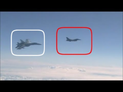 Download Youtube: Russian Su-27, Forces Away NATO F-16 After It Approaches The Russian Defence Minister's Plane.