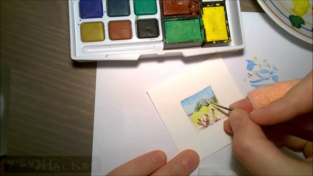 Tiny Spring 08 04 2015 Miniature Watercolor Series Painting 25cm