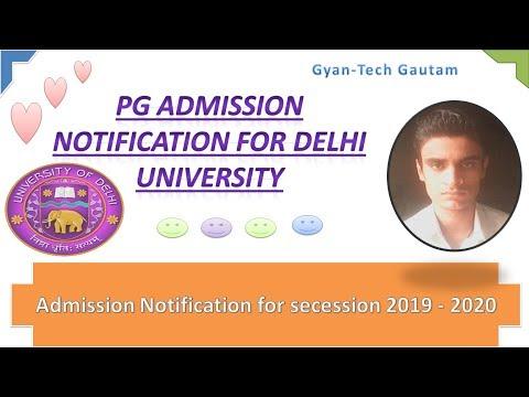 DU PG Admission 2019-20 Notification - Video By Gyantech Gautam