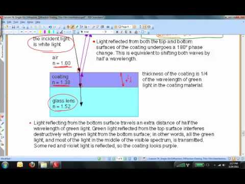 Lesson 74, Single Slit Diffraction, Diffraction Grating, and Thin Film Interference, Part 2.mp4