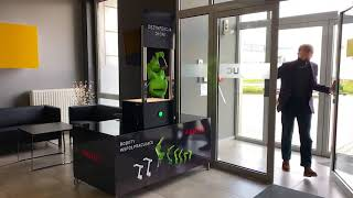 Automated hand disinfection by CR-7iA in the FANUC Poland office