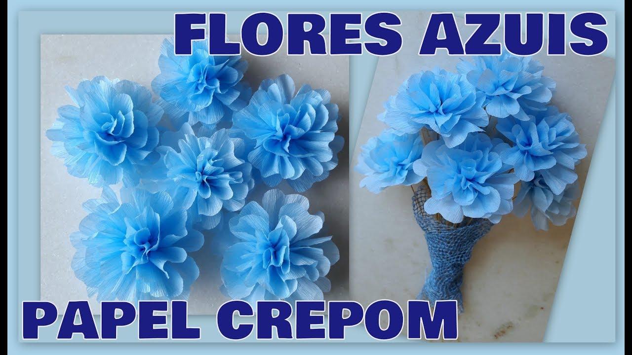 Diy Flores Azuis De Papel Crepom Fácil De Fazer