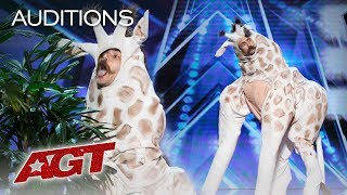 Umm? A Giraffe Auditions For Simon Cowell - America's Got Talent 2019