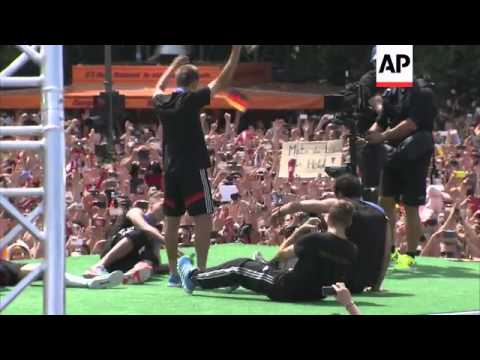 Victorious German football team celebrate World Cup win at fanzone