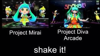 Project Mirai shake it! Again PV Comparison 3DS Arcade