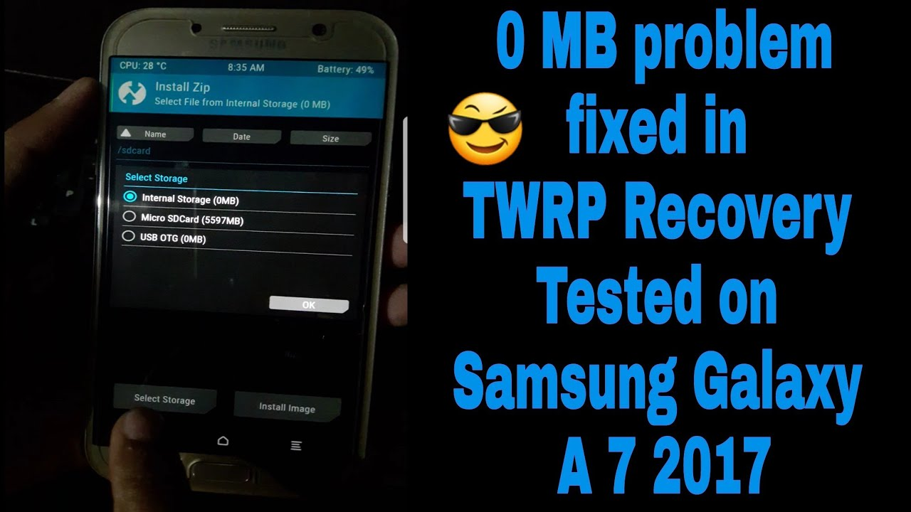 Fix:Internal Storage 0 MB or Unable To Mount Storage TWRP ,and