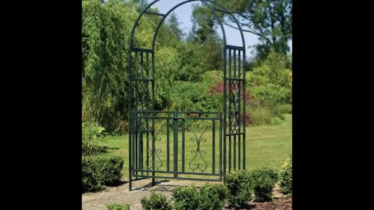Metal Garden Arch With Gate YouTube