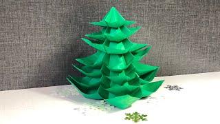 Как сделать ёлочку из бумаги объёмную 3D без клея. How to make a Christmas tree out of paper. DIY.