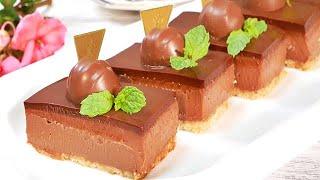簡単!混ぜて冷やすだけ(ゼラチン無し)濃厚生チョコチーズケーキNo-Bake No-Gelatin Chocolate Cheesecake Recipe