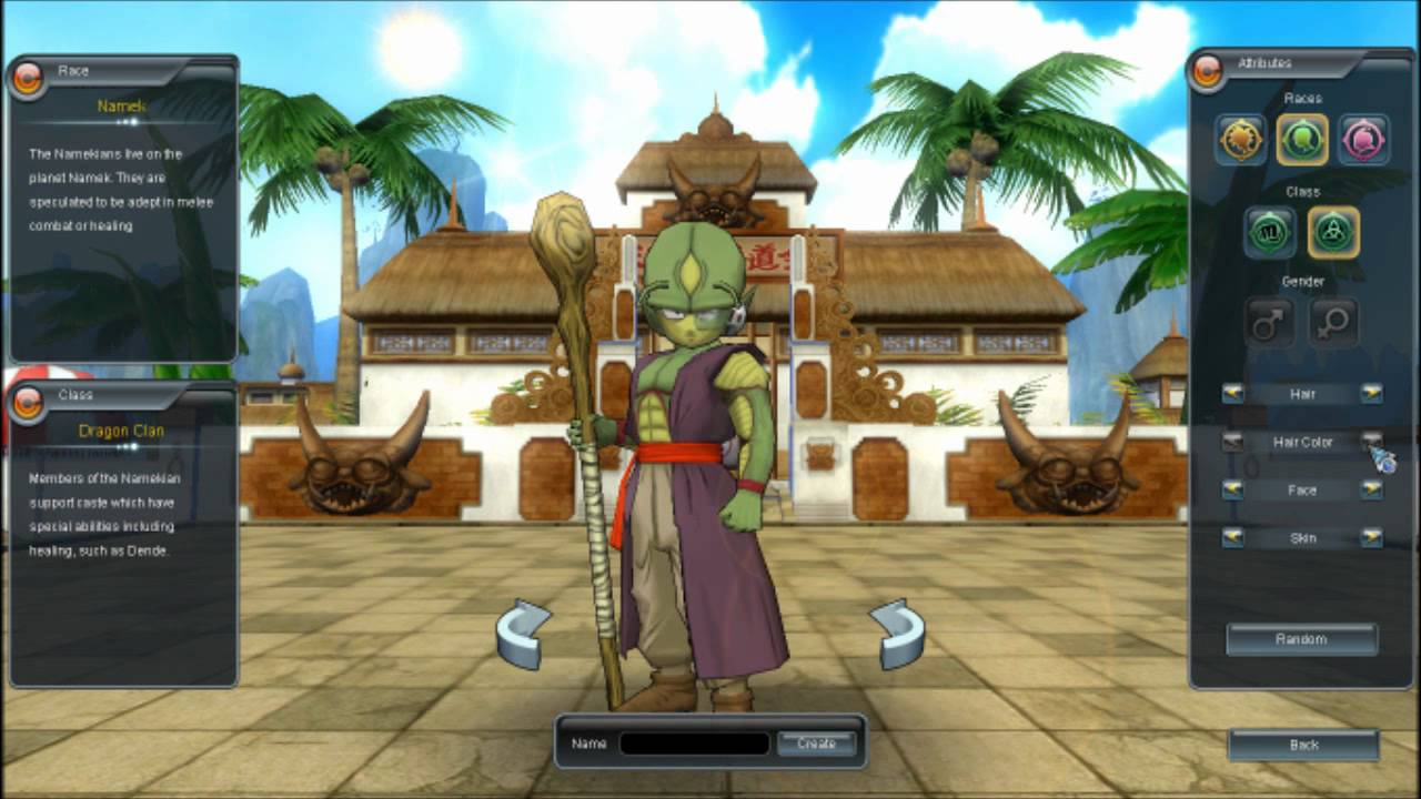 dragon ball online create a character youtube