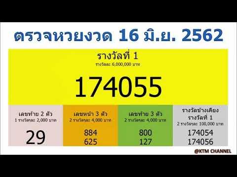 ตรวจหวยวันนี้ ผลสลากกินแบ่งรัฐบาล งวด 16/6/2562 (16 มิ.ย. 2562)