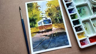 Fall Scenery with Watercolors for Beginners | Tramp