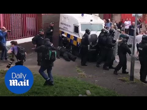 Belfast Police Clash With Bonfire Supporters