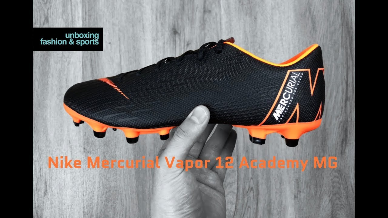 huge discount 35846 ae2be Nike Mercurial Vapor 12 Academy MG  Black Total Orange    UNBOXING   football  boots   2018   4K
