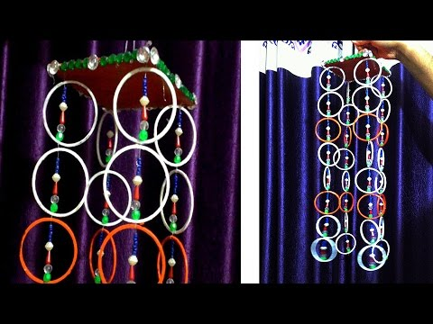 Vote no on wall hanging with old bangles old for Craft using waste bangles