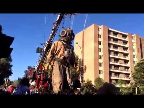 Giant Puppet on Streets of Perth, Australia for Festival of Perth 2015.