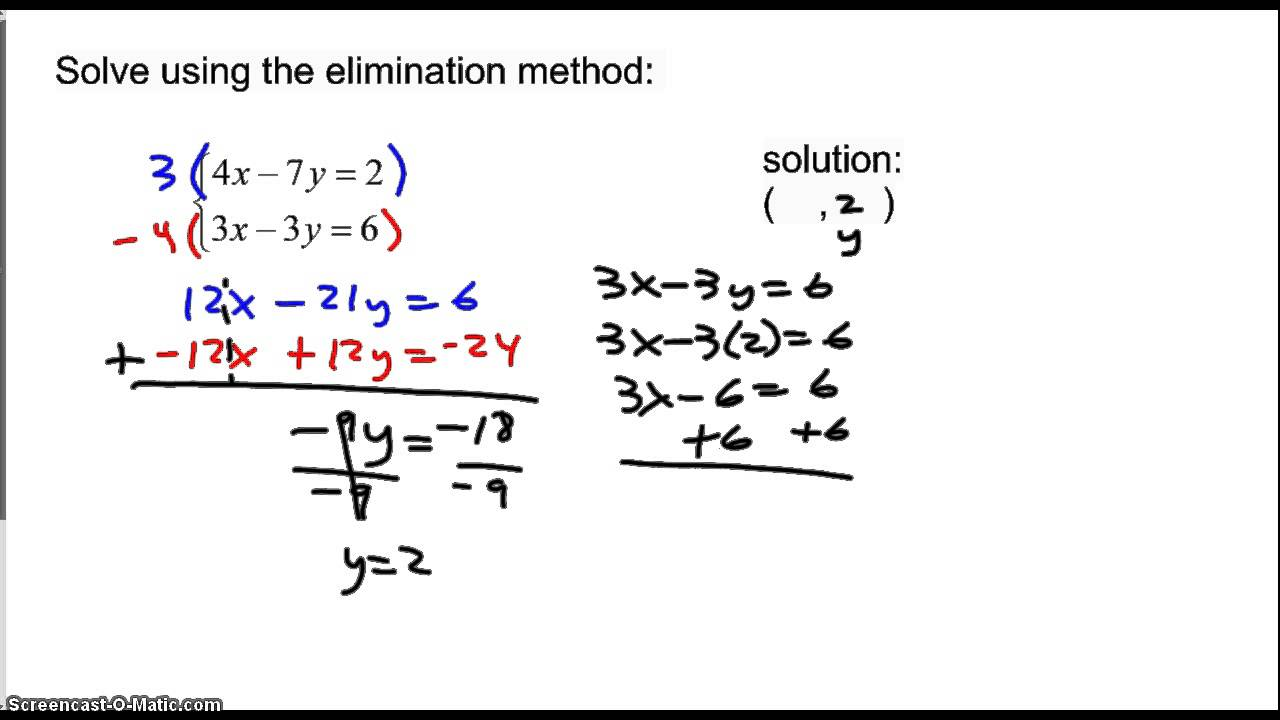 solving systems of equations: elimination method, special cases