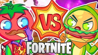 EPIC FORTNITE FOOD FIGHT! TOMATOES VS. BURGERS!